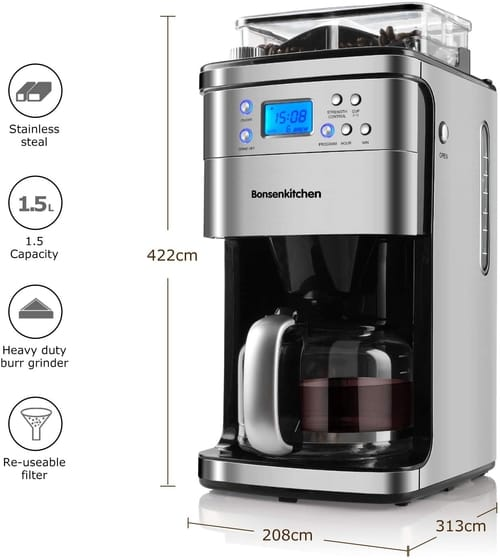 Bonsenkitchen 10 Cup Programmable Coffee Maker