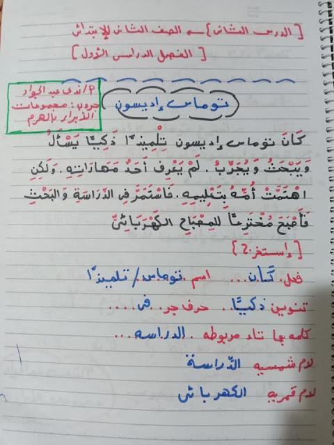 شرح وتحميل الدرس الثانى (توماس أديسون ) للصف الثاني الإبتدائي لغة عربية ترم أول 2020