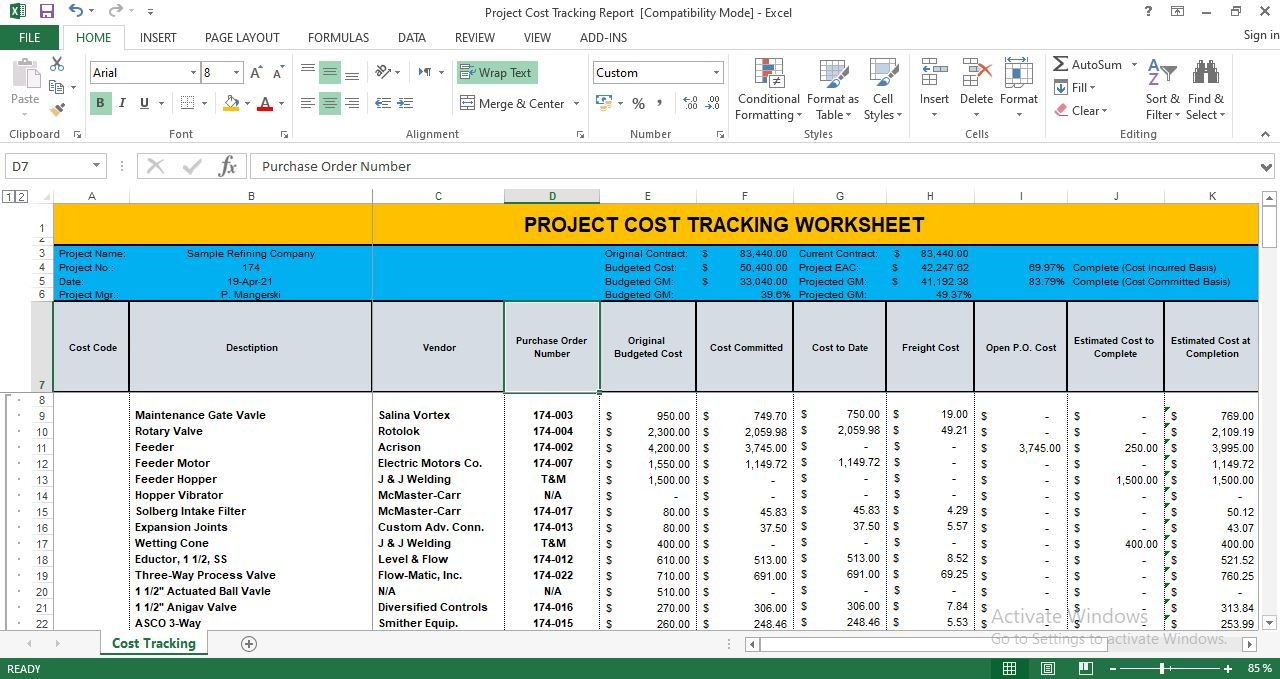 Project Cost Tracking Template Excel Free Download Inside Job Cost Report Template Excel