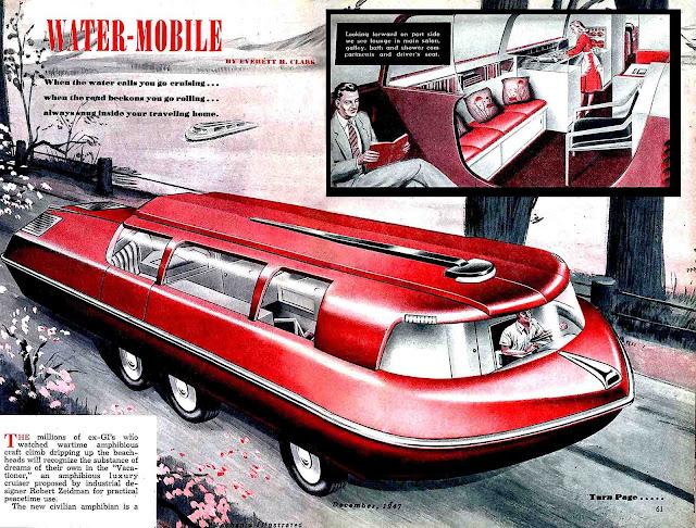 a red 1947 retrofuture Water-Mobile amphibious car