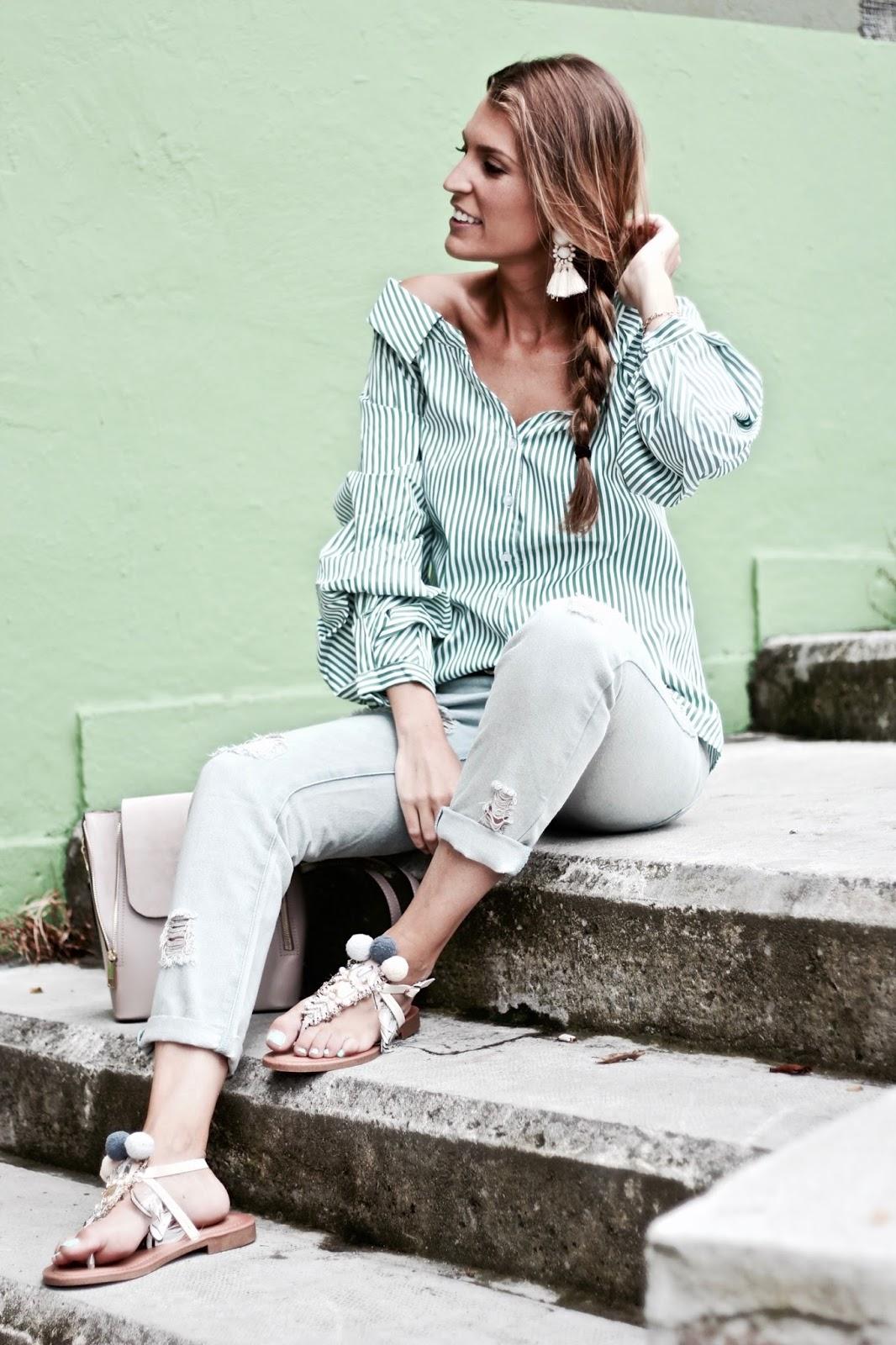 blusa de rayas blancas y verdes