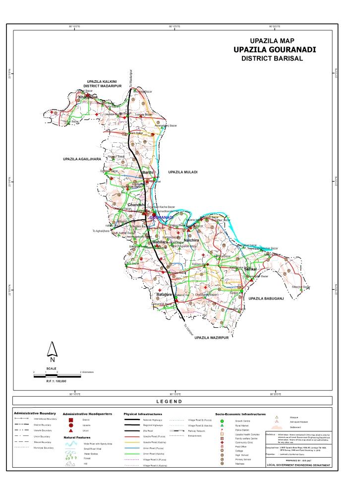 Gauranadi Upazila Map Barisal District Bangladesh