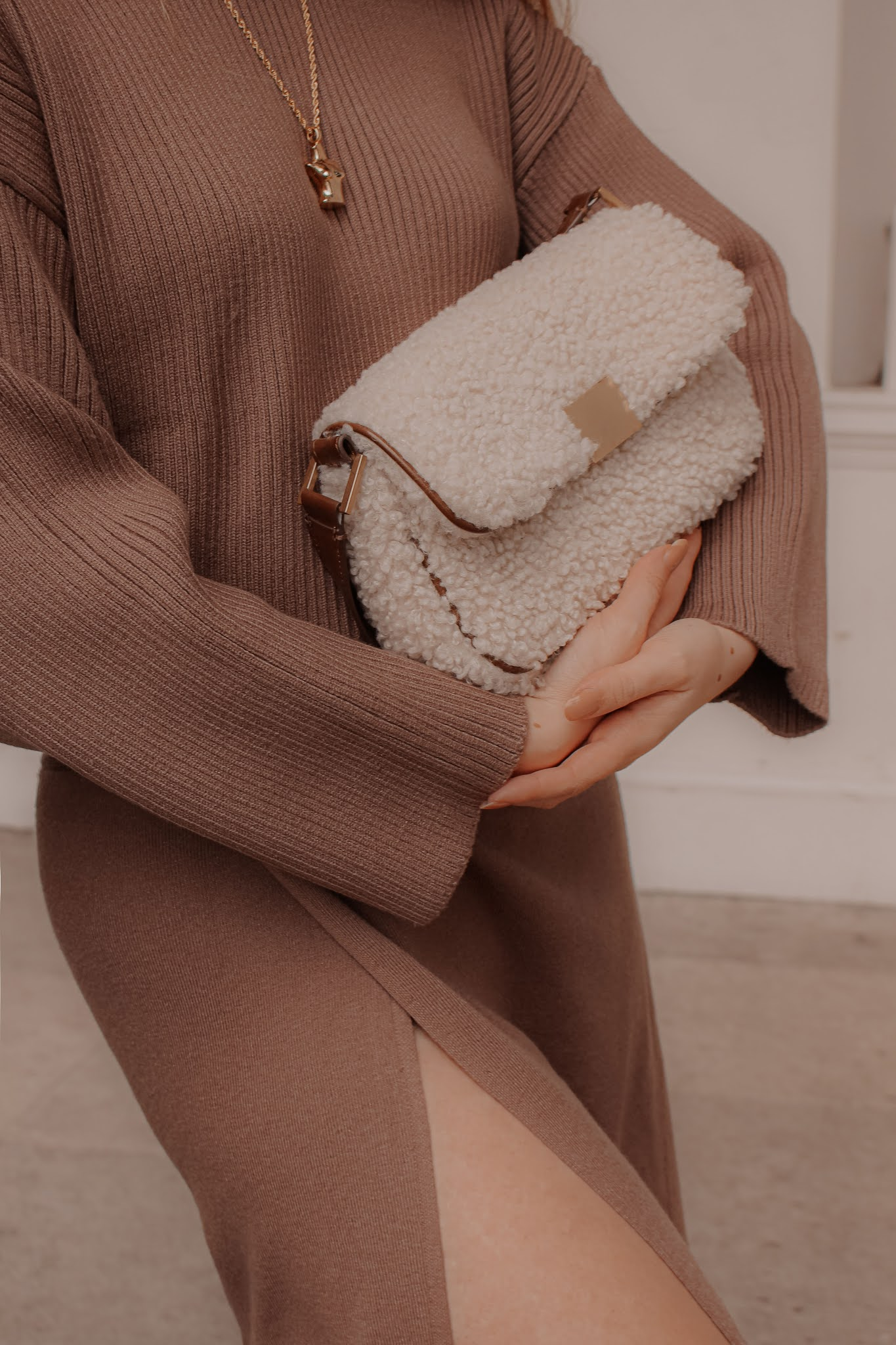 Zara sheepskin baguette shoulder bag