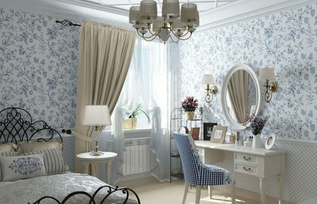 Provence style curtains for the bedroom