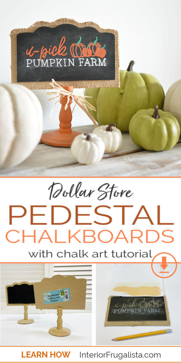 How To Create Chalk Art Like A Pro the easy way! A DIY tutorial by Interior Frugalista plus How To Upcycle Dollar Store Pedestal Chalkboards for budget Fall decorating. #chalkarttutorial #dollarstorecraft