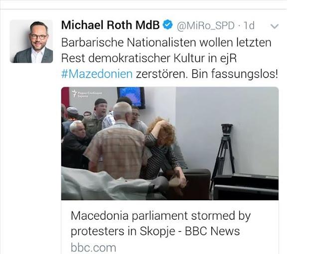 Michael Roth calls Skopje hooligans as barbarians