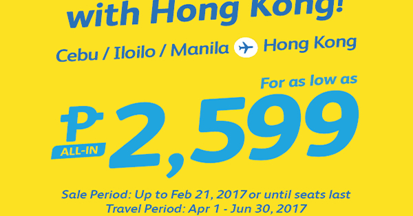 Cebu Pacific Hong Kong Promo 2017