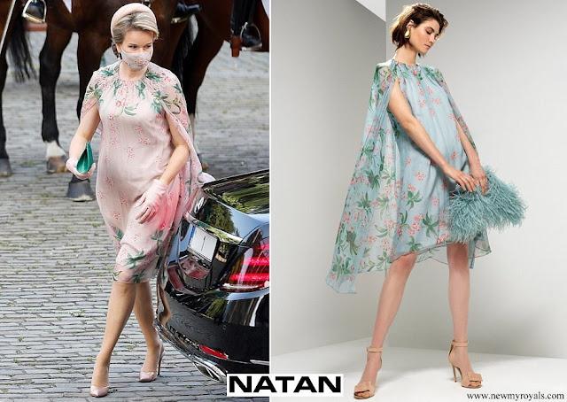 Queen Mathilde wore NATAN silk muslin slinky dress