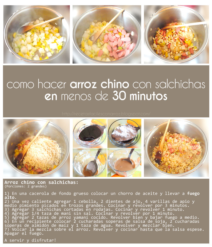 arroz chino con salchichas foto tutorial