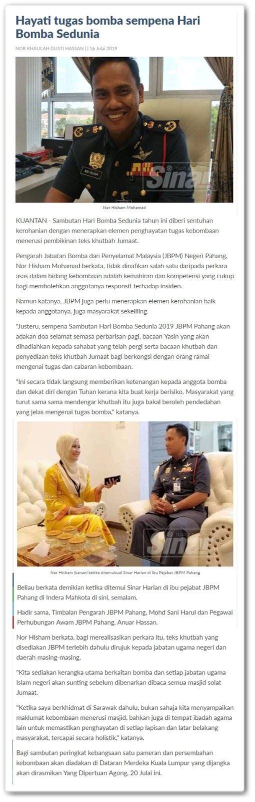Hayati tugas bomba sempena Hari Bomba Sedunia - Keratan artikel online Sinar Harian 16 Julai 2019