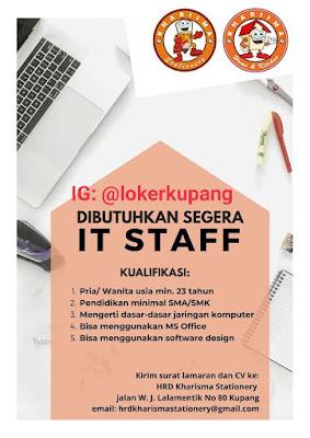 Lowongan Kerja Kharisma Stationery Sebagai IT Staff