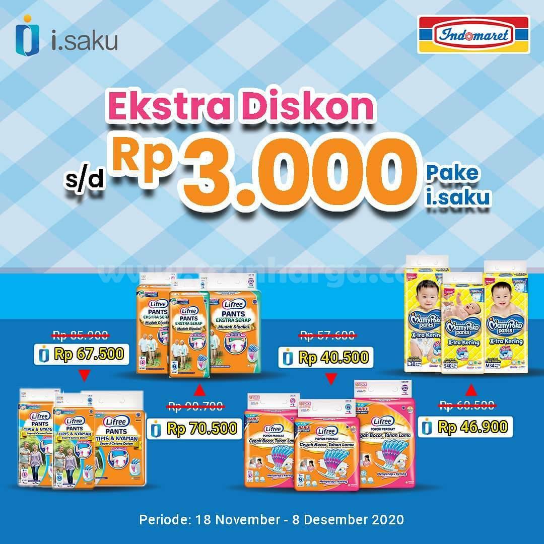 Indomaret Promo Pampers Anak / Popok Bayi EXTRA DISKON Rp 3.000 Pake i.saku