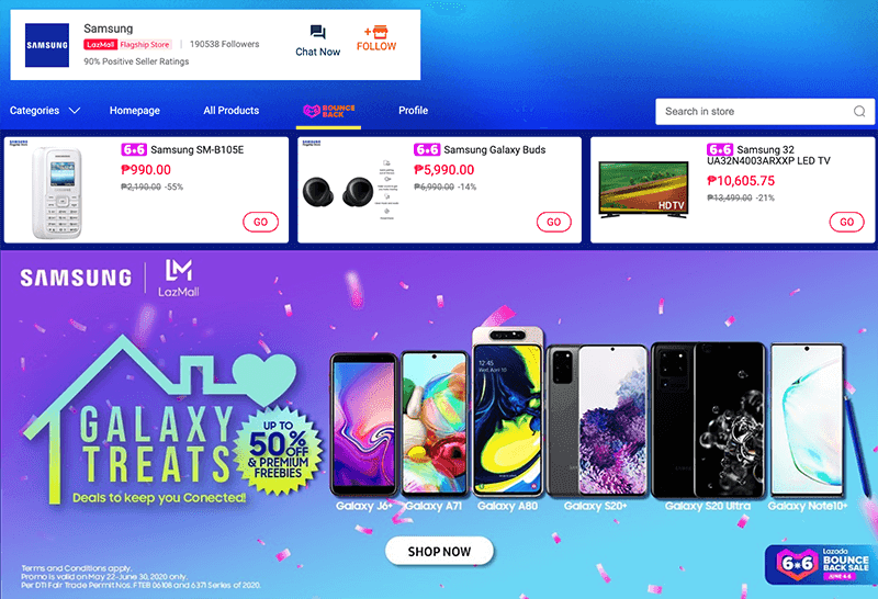 Get up to 56 percent off Samsung smartphones at Lazada 6.6 Bounce back sale!