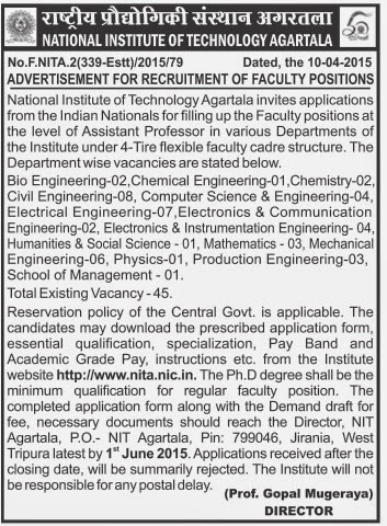 naukri job employment advertisement for recruitment of faculty