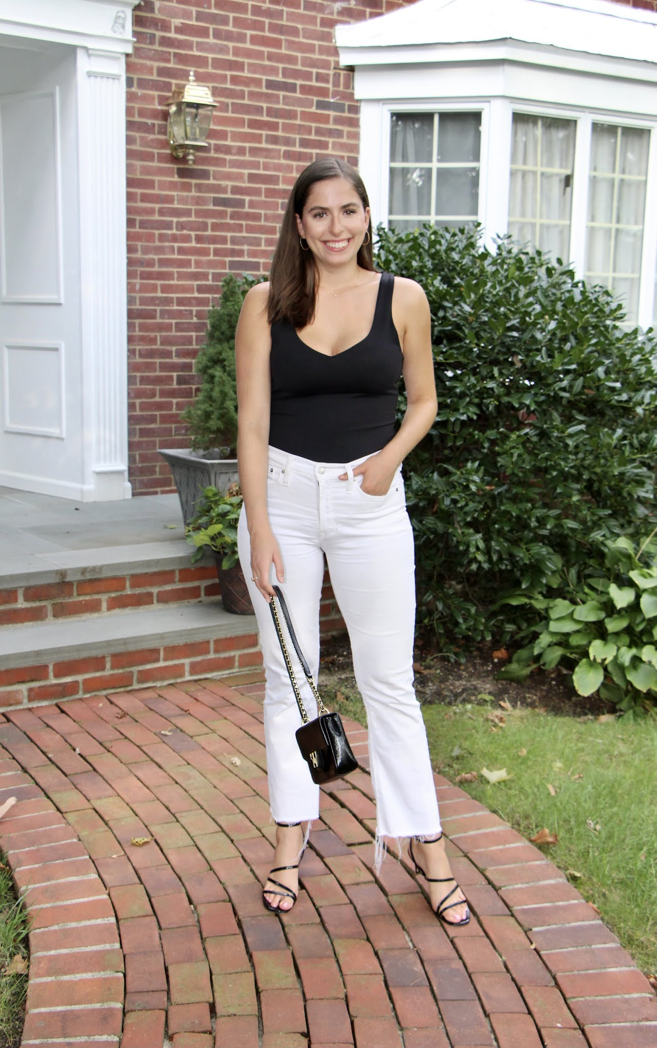 strappy heels, inez, white flare jeans, black bodysuit, abercrombie, date night, gno, bar outfit nyc