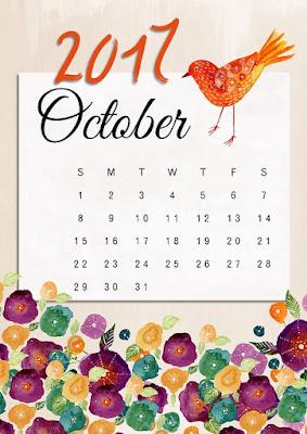 October 2017 calendar image