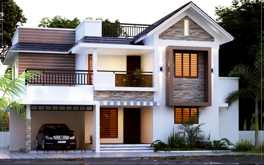 1950 sq ft 4 bed room Kerala style residence Forms4 Ernakulam