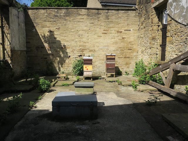 Bee Hives in the old Chapel at Lister Lane Cemetery, Halifax, Calderdale, UK.