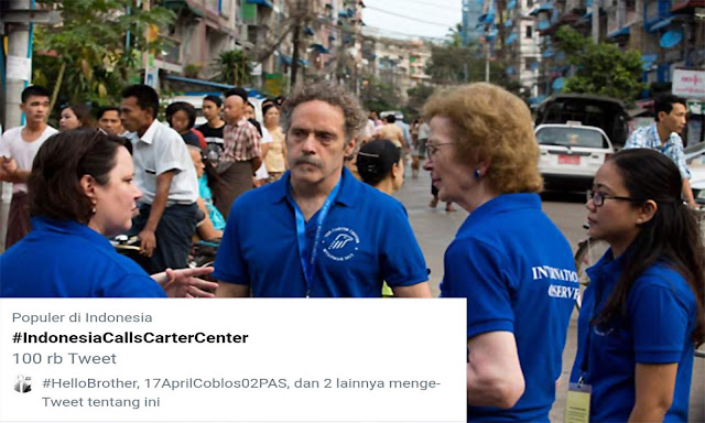 #IndonesiaCallsCarterCenter Trending Topic, Kubu 02 Minta Carter Centre Pantau Pemilu 2019