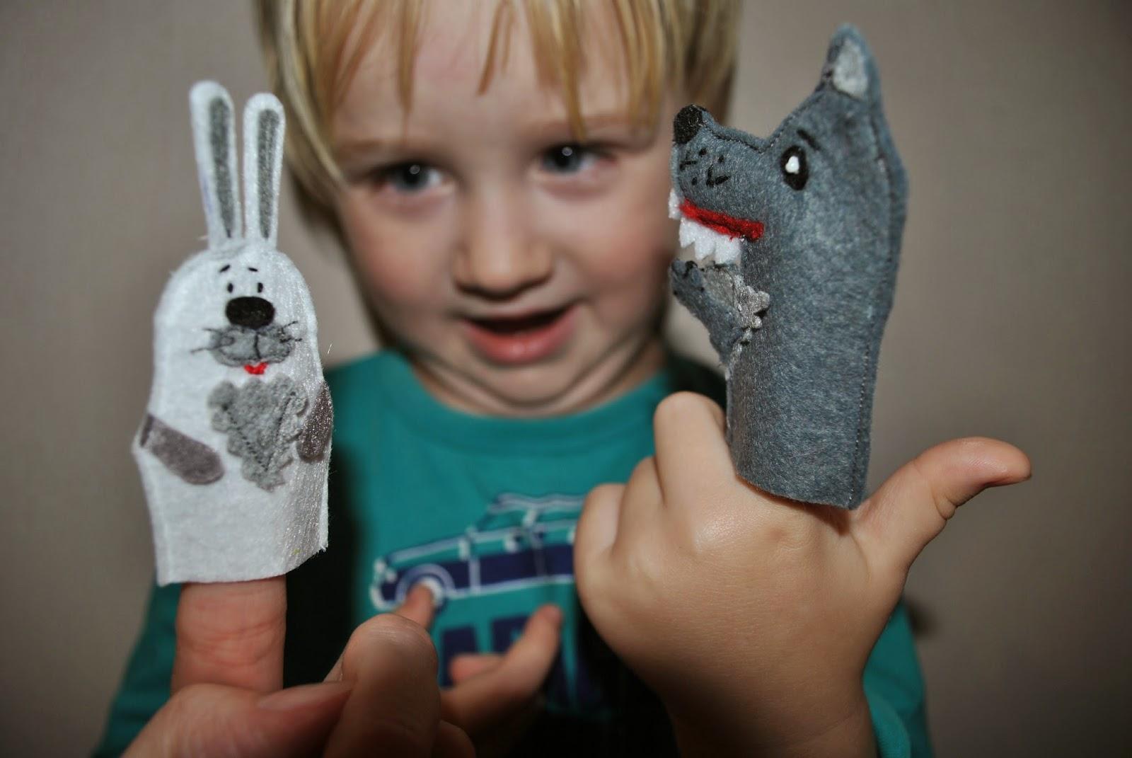 Процессы из фетра. Пальчиковые игрушки. Волк, лиса, заяц из фетра.
