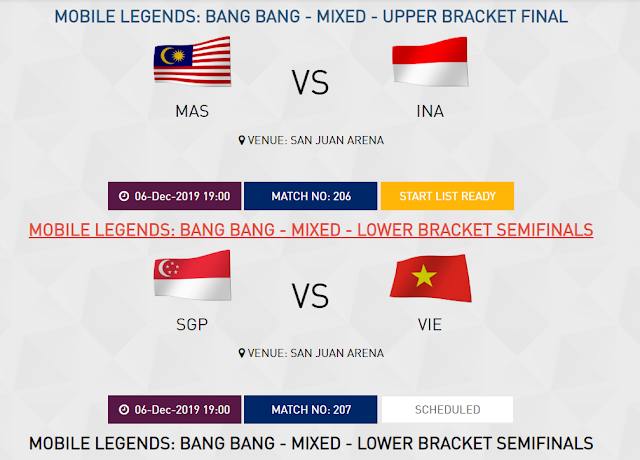 jadwal timnas mobile legends sea games jumat 6 desember