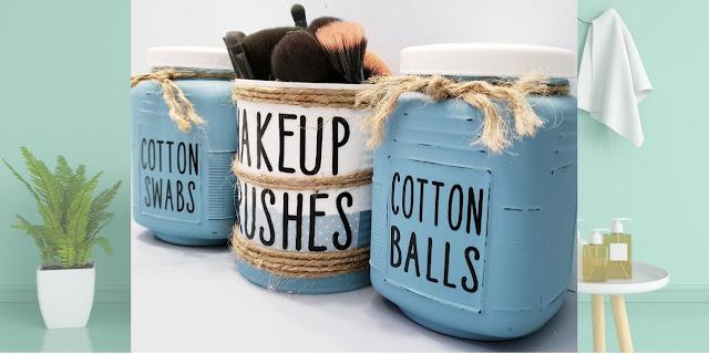 vintage inspired bathroom jars