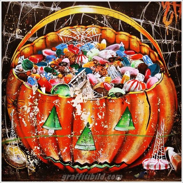 Halloween graffiti, halloween pumpkin, street art