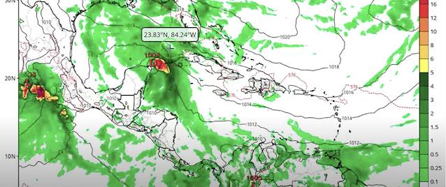 El Modelo GFS muestra la potencial depresión o tormenta tropical cruzando por el Canal de Yucatán este fin de semana.