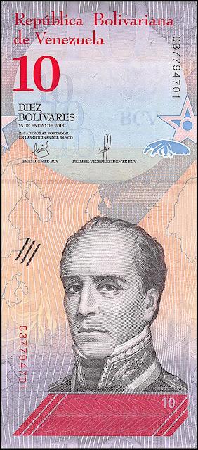 Venezuela Currency 10 Bolivares Soberanos banknote 2018 Rafael Urdaneta