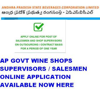 AP Govt Wine Shops Recruitment 2019 Online Application salesmen and supervisor available now 1