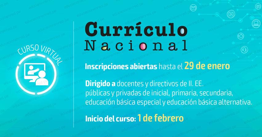 CURRÍCULO NACIONAL: Curso Virtual - Primera Convocatoria 2019 - MINEDU - www.minedu.gob.pe