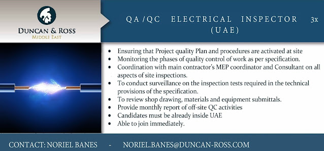 Electrical QA/QC Inspectors Jobs in UAE Duncan & Ross Consulting Middle East