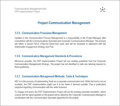 project communication plan, Communications Management Plan