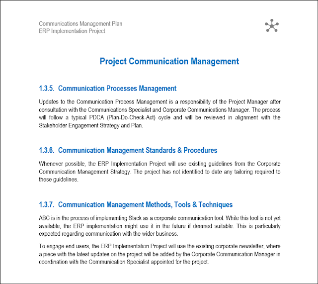 project communication plan, Communications Management Plan