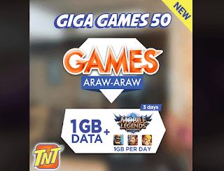 TNT Giga Games 50 – 3 Days Access to Mobile Legends, COC, AOV and Clash Royale