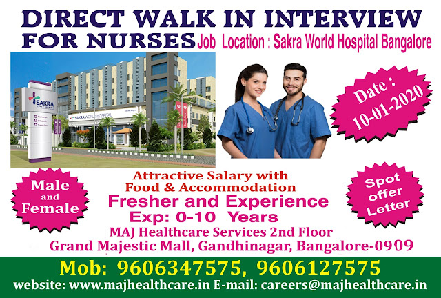 DIRECT WALK IN INTERVIEW  FOR NURSES  TO SAKRA WORLD HOSPITAL, BANGALORE
