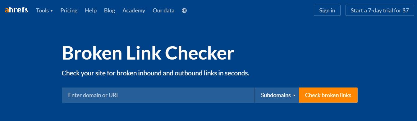 Ahrefs broken link checker