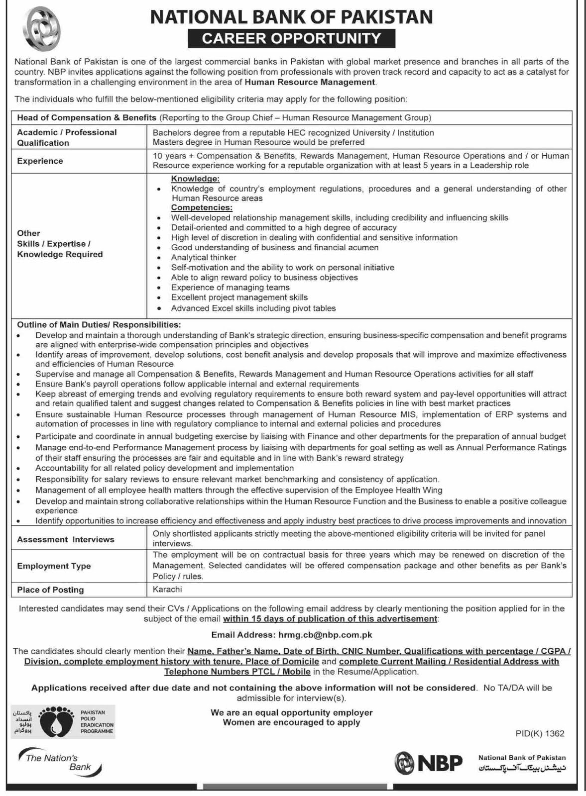 NBP Careers Opportunities 2019 October Advertisement