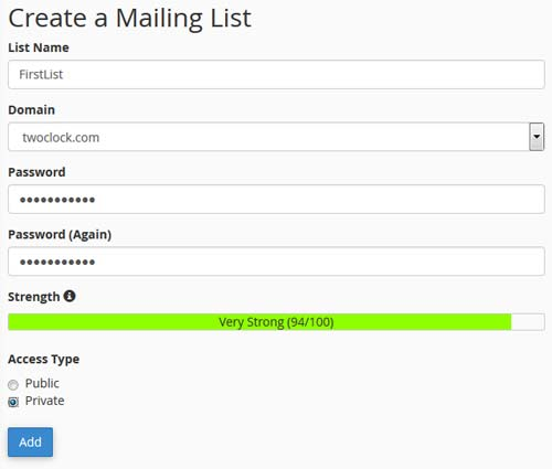 add mailing list in cpanel