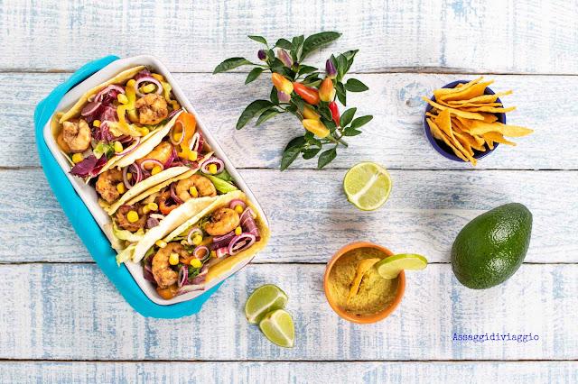 Tacos con gamberi