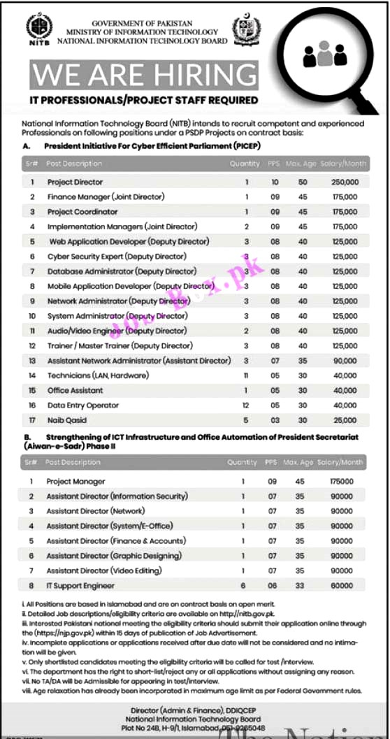 Ministry of Information Technology NITB Latest Jobs 2021 – NITB Jobs Apply online