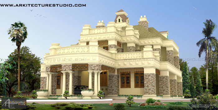5000 sqft colonial style luxury bungalow style home design for Luxury bungalow house plans