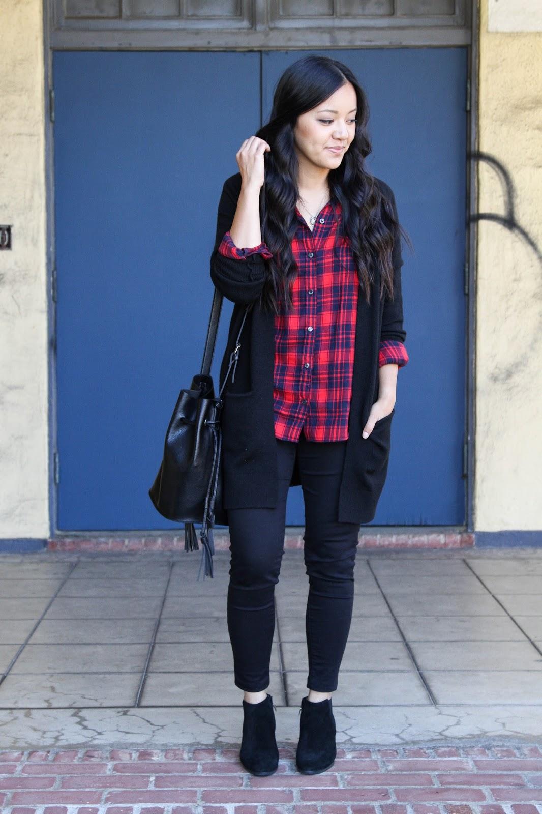 Black Cardigan + Plaid Shirt + Black Skinnies + Bucket Bag + Booties