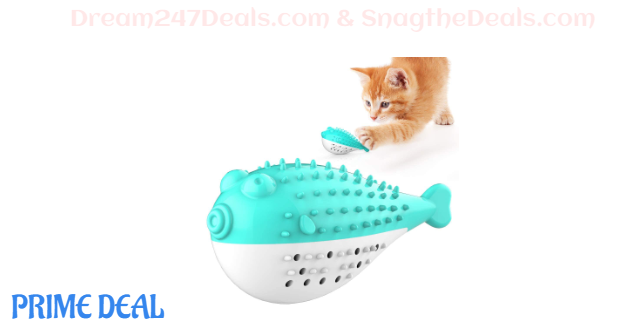 57%off USWT Cat Toothbrush Catnip Toys, Built-in Bell Fish Shape Teeth Cleaning Kitten Toy with Sound