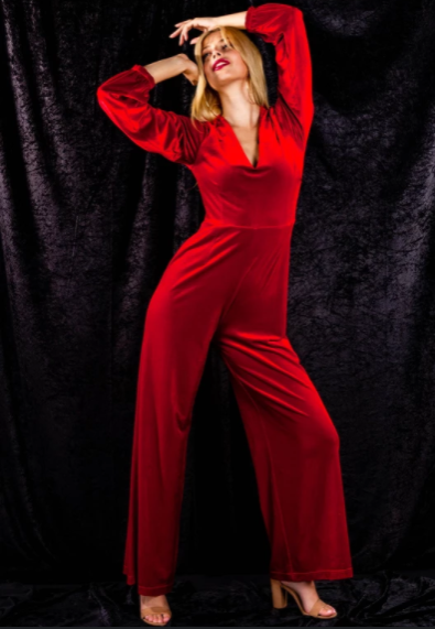 Red Velvet Jumpsuit by Shinesty