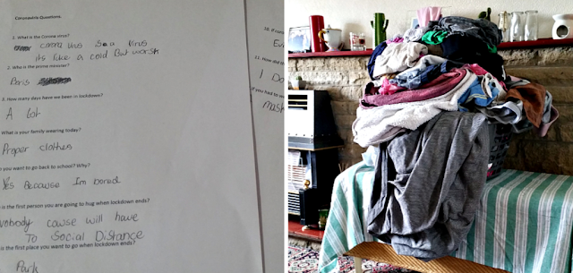 A coronavirus questionnaire and a pile of clean washing to put away.