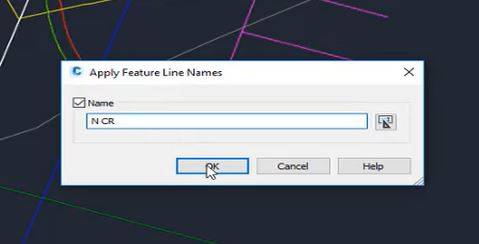 Apply feature line names in Autodesk Civil 3D