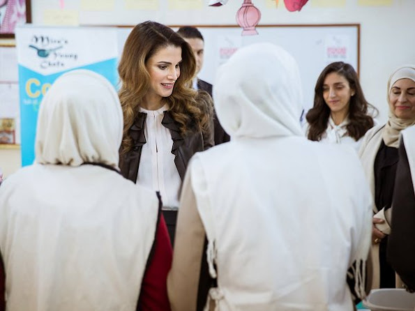 Queen Rania of Jordan at Royal Health Awareness Society's Healthy Schools National Accreditation project
