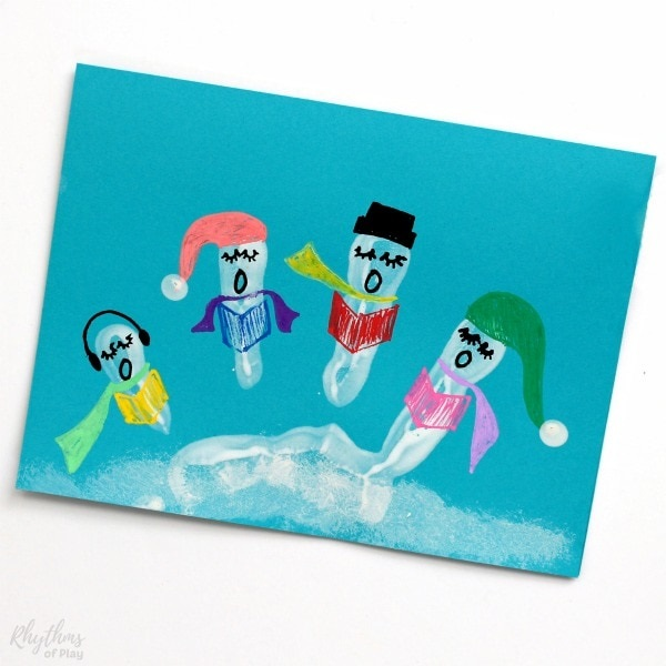 Christmas Carolers Handprint Art Cards