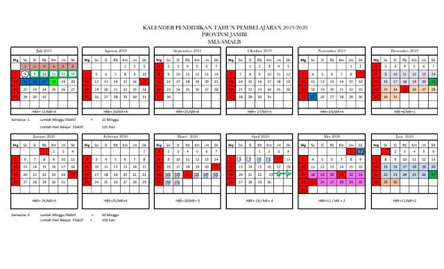 Kaldik 2019/2020 Provinsi Jambi (Excel, PDF)